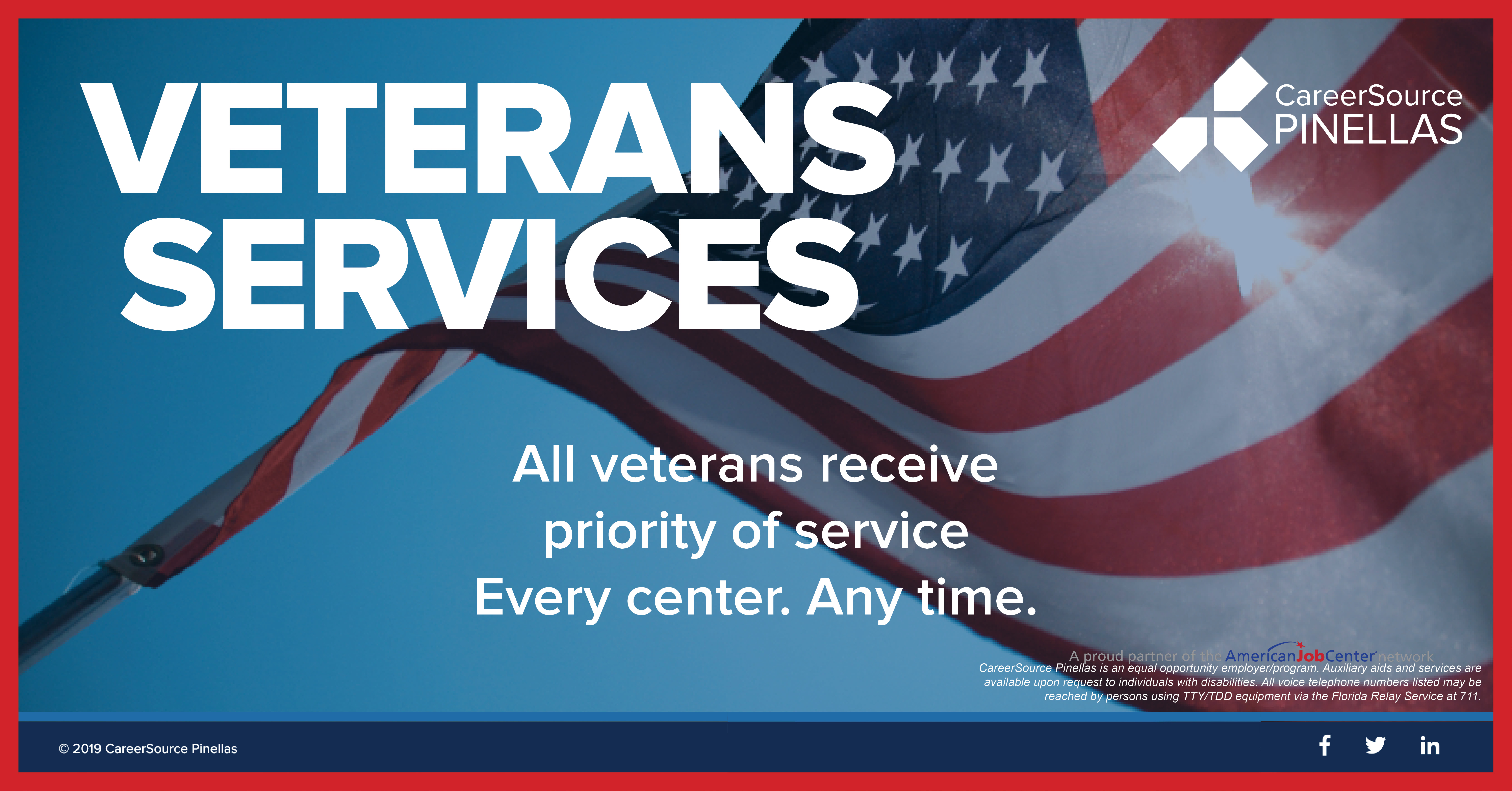 veteran services american flag priority service